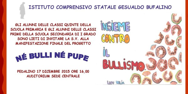 "Invito Manifestazione Finale ""Nè Bulli nè Pupe"""
